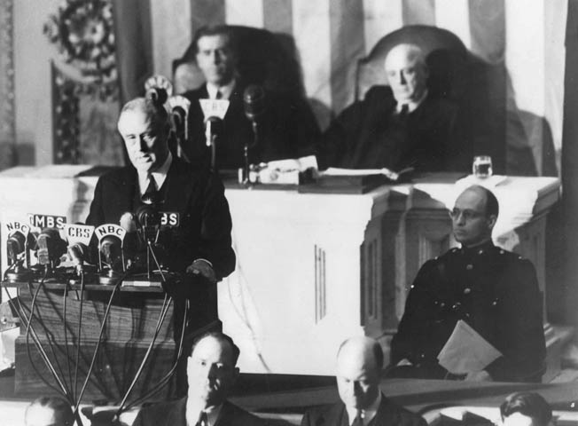 President Franklin D. Roosevelt asks a joint session of Congress to declare war on Japan, December 8, 1941. The House of Representatives voted for war, 388 to 1; the Senate was unanimous.