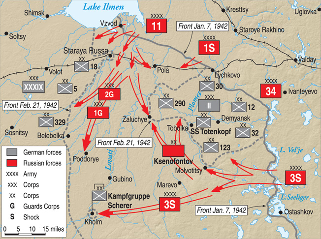 Soviet forces (shown in red) punch through defensive lines and encircle Germans south of Lake Ilmen at Demyansk and Kholm.