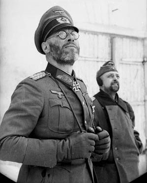 Too cold to shave: General Theodor Scherer, commander of the 281st Security Division and commandant of Fortress Kholm, was photographed in the city during the seige.