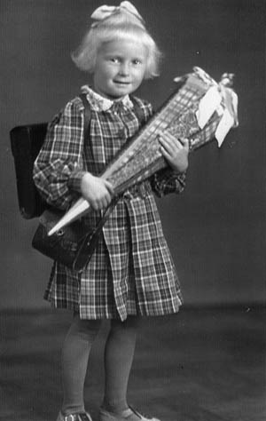 Six-year-old Dorothy Lobes, photographed on her first day of school, September 1941.