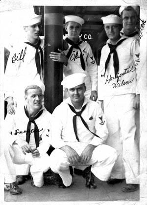 "Ed Reynolds (kneeling, center) and some of his shipmates. ""Snapper"" and ""Okie"" are among those Ed mentions in his diary."