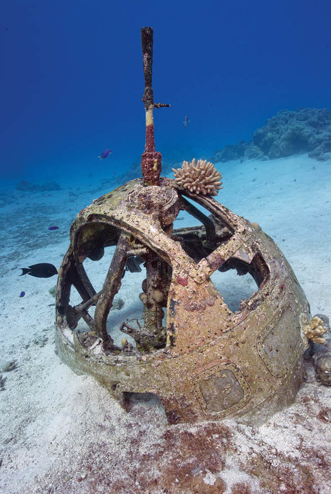 The turret of a Japanese Kawanishi H8K Emily flying boat lies on the sea floor along the Maritime Heritage Trail.