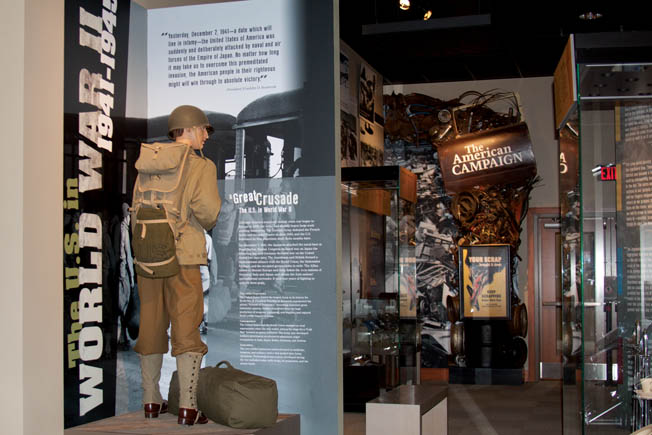 Entering the WWII exhibit area, filled with carefully selected photographs and artifacts, visitors are immersed in the U.S. Army's efforts to achieve victory in both the European and Pacific Theaters.