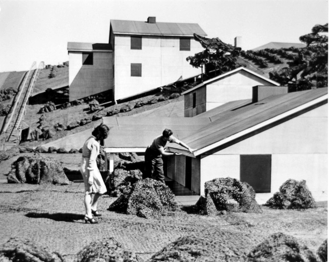 "Boeing workers Suzette Lamaroux and Vern Manion inspect one of the rooftop bungalows above Plant 2 (""Wonderland"") in Seattle, July 1945. Such elaborate deception may seem today like an unnecessary waste of time and resources, but it calmed the fears of those who worked there."