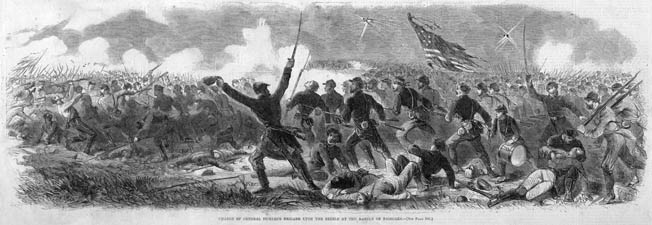 Brig. Gen. Daniel Sickles' brigade charges into battle after crossing the Chickahominy River via the shaky Grapevine Bridge. The bridge collapsed and washed away shortly after the last man had crossed.