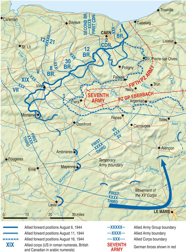 "With the Canadians moving south from Caen and Patton's Third U.S. Army coming north, the Allies hoped to bag large numbers of enemy troops, but a controversial ""stop"" order derailed those plans."