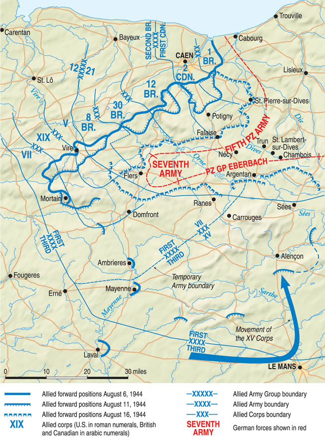 With the German Seventh Army's counterattack toward Mortain stopped, a dangerous salient was created that was pinched off by the Americans driving north and the British/Canadians/Poles heading to the south, August 16-20.