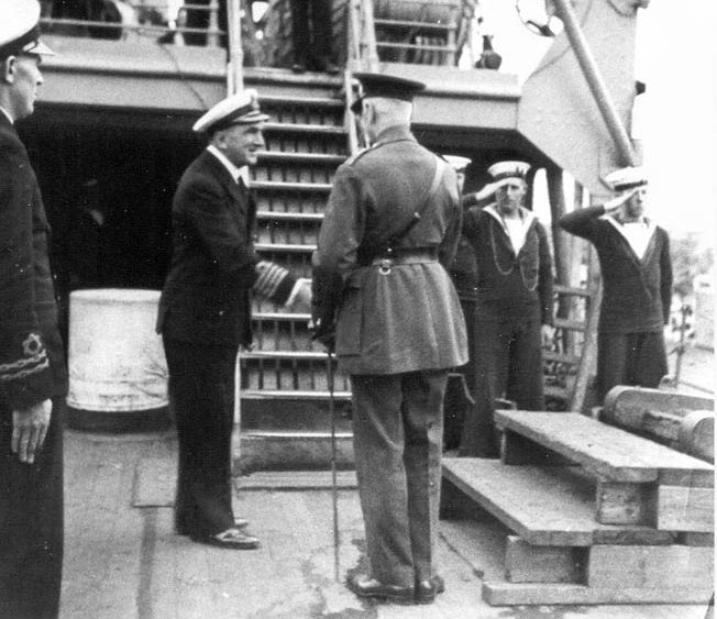 Jervis Bay's skipper, Captain Edward Fegen, left. His heroic actions saved most of the convoy but cost him his life and his ship.