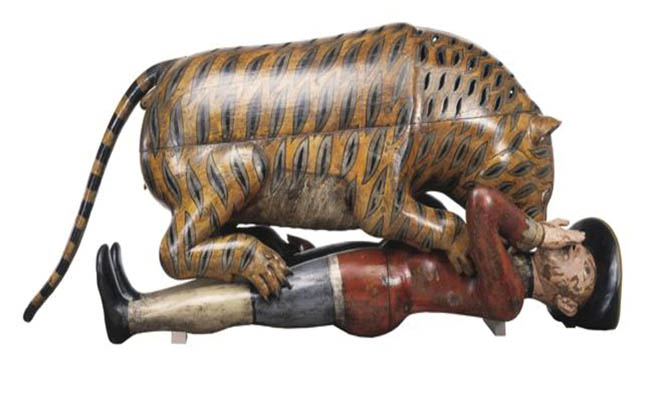 Tipu Sultan's life-size mechanical tiger  celebrated his victory over the East India Company at the Battle of Polilur in 1780.