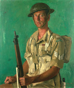 Sergeant John Patrick Kenneally, shown here in a portrait by Henry Carr, earned the Victoria Cross, Britain's highest military award, for his actions in Tunisia, April 28, 1943, while serving with the 1st Battalion, Irish Guards. Kenneally, however, was half English and half Jewish; his real name was Leslie Jackson (aka Robinson).