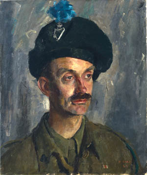 Major The Viscount Stopford, an officer in the London Irish Rifles (Royal Ulster Rifles), wears the distinctive bonnet known as a caubeen (portrait by Henry Carr, 1944).