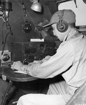 Fitzpatrick operated the B-17's radio as shown.