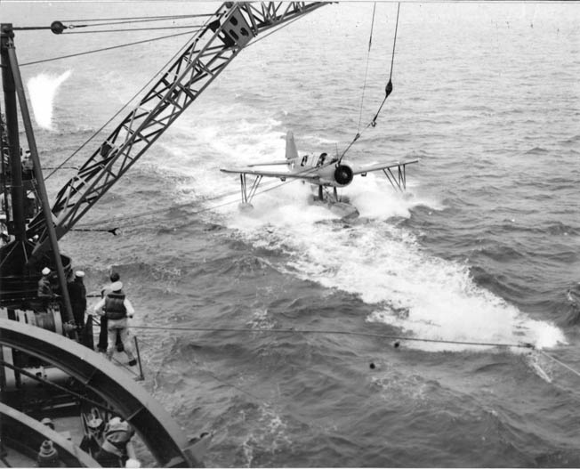 Recovering the catapult-launched Kingfisher aircraft while at sea was a perilous task for the crews of Fletcher-class destroyers, and this particular attempt by sailors aboard the USS Stevens reveals some of the difficulties encountered in the open sea.