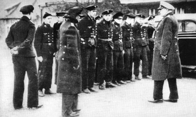 The German prize crew that boarded and took control of the City of Flint stands in ranks during its internment at Kongsvinger Fortress, Norway. Lieutenant Hans Pushback is seen in the photograph at right.