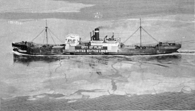 Emblazoned with its name and the ownership of the United States Lines, the City of Flint was photographed in the Chesapeake Bay on its return to the United States.