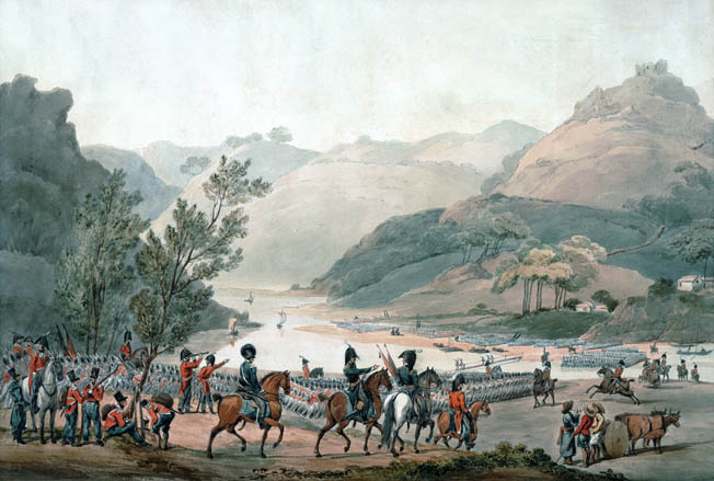 Wellington's forces cross the picturesque Mondego River on their way to the Bussaco ridge. The river lies at the southern end of the 10-mile-long ridge.