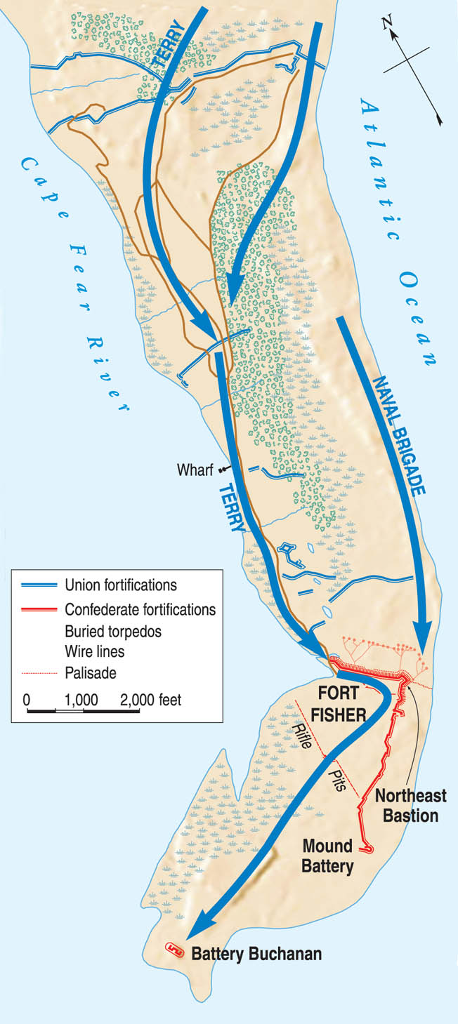 Built in the shape of an upside-down L, Fort Fisher stretched almost half a mile across Confederate Point between the Cape Fear River and the Atlantic Ocean.