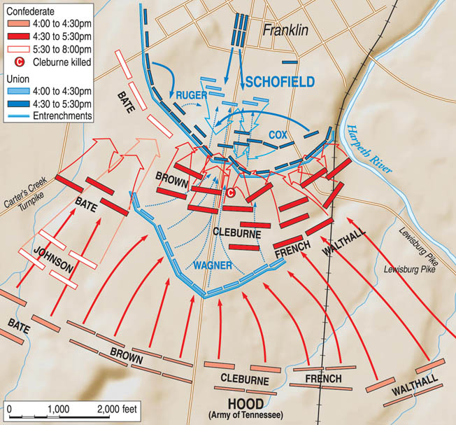 Angered by his failure to cut off Schofield's retreat at Spring Hill, Hood rashly launched a frontal assault across two miles of open ground against an entrenched enemy. The result was 7,000 Confederate casualties, among which were 14 generals killed, wounded, or captured.