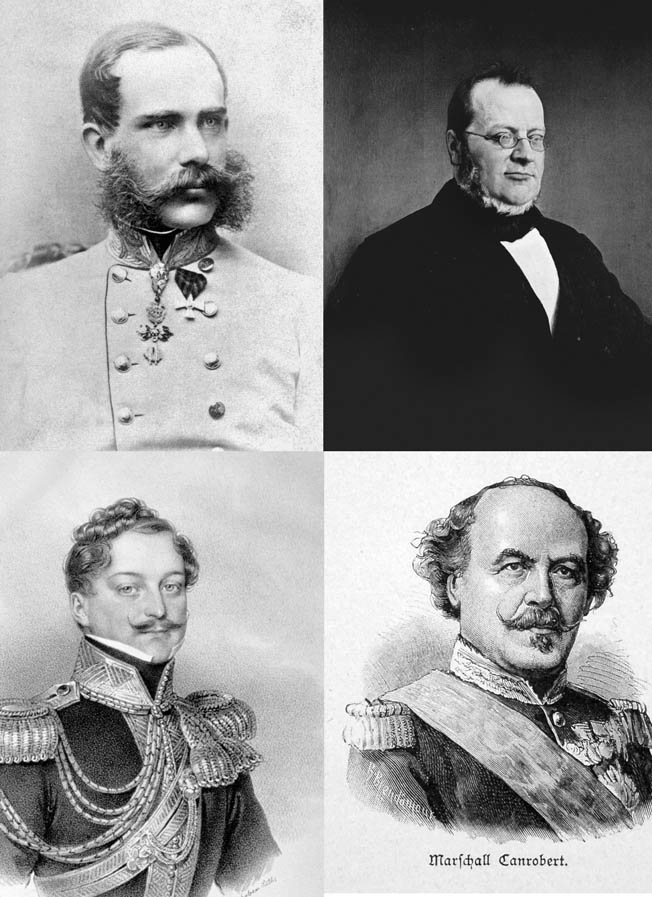 Clockwise from top left: Austrian Emperor Franz Josef, Piedmont-Sardinian Prime Minister Count Camillo Benso, French General Francois Canrobert, and Austrian Field Marshal Count Ferenc Gyulay.