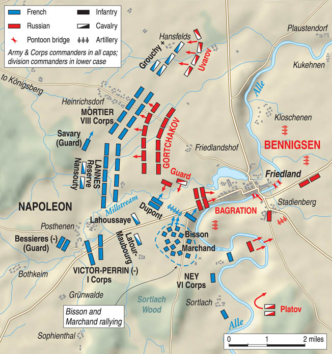 The French right steadily drove the Russians into the narrow loop in the Alle River where they became trapped. Meanwhile, massed French cannons shelled the Russians relentlessly.