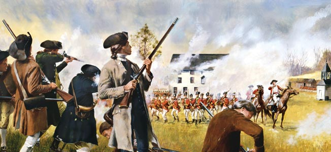 A preemptive strike by Britishe regulars to destroy Patriot supplies at Concord ended in a fighting retreat to Boston on April 19, 1775.