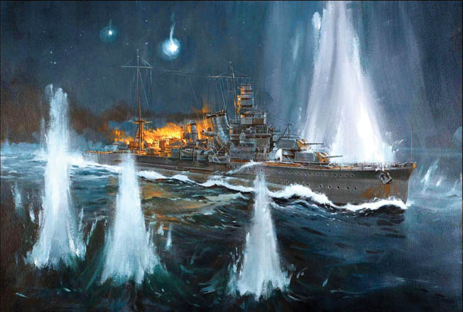 With a fire blazing out of control astern, the doomed Japanese cruiser Furutaka is bracketed by American large caliber shells during the battle. The only cruiser sunk during the fight, Furutaka was an early target as the Americans achieved complete surprise.