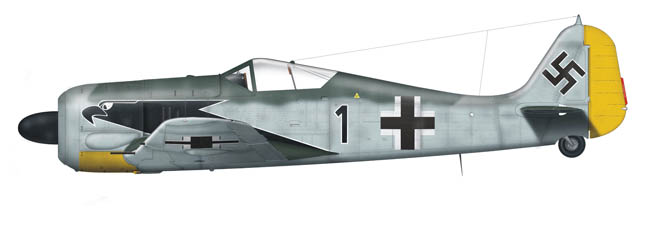 An Fw-190 flown by Luftwaffe fighter ace Oberleutnant Horst Hannig, who was credited with 98 aerial victories before dying in combat in 1943.