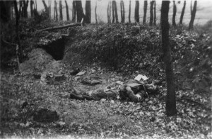 A German medic lies dead near Linne, Holland, February 27, 1945. The 809th was supporting the 314th Infantry Regiment, 79th Infantry Division, attacking through Linne toward the Roer River, and stood ready to repel any German armored counterattacks. The battalion crossed the Roer River on February 28, 1945.