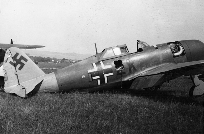 This photo, taken May 15, 1945, shows a captured Republic P-47 Thunderbolt fighter aircraft in German markings at Göttingen airfield in central Germany. Göttingen was a base for the Zirkus Rosarius, formed by Hauptmann Theodor Rosarius in 1943, a special test unit of the Luftwaffe high command. The unit tested captured British and American aircraft (called Beuteflugzeug) that were repainted with German insignia. The purpose was to discover the enemy aircraft design strengths, vulnerabilities, and performance, and to use the information to enable German pilots to develop countertactics.