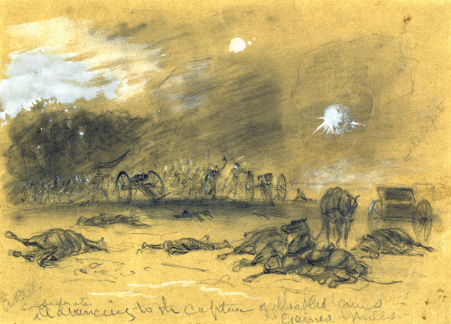 This battlefield drawing by Alfred Waud shows Confederate troops capturing Union guns at Gaines' Mill. The charge of the 5th Cavalry helped save many other artillery pieces.