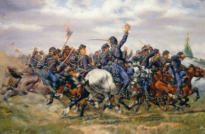 Another William Trego painting shows the Union cavalry in action. Trego was one of the most prolific historical painters of the late 19th century.
