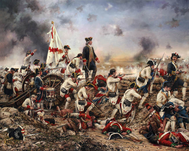 Spanish troops press the siege on Pensacola in a modern painting by Spanish artist Augusto Ferrer-Dalmau. Galvez's skillful victory at Pensacola was the climax of a two-year campaign that cleared the British from the Gulf Coast.