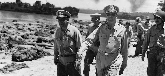 General Douglas MacArthur, leader of the allied campaign in the Southwest Pacific, commanded an amphibious drive to the Philippines and beyond.