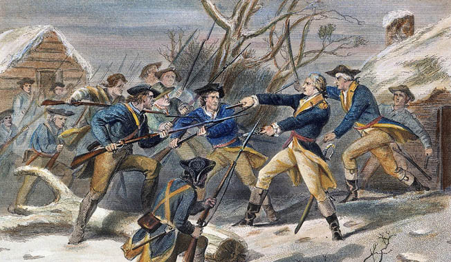 General George Washington struggled to keep the Continental Army intact during the harsh winter of 1770-80 at the Morristown encampment.