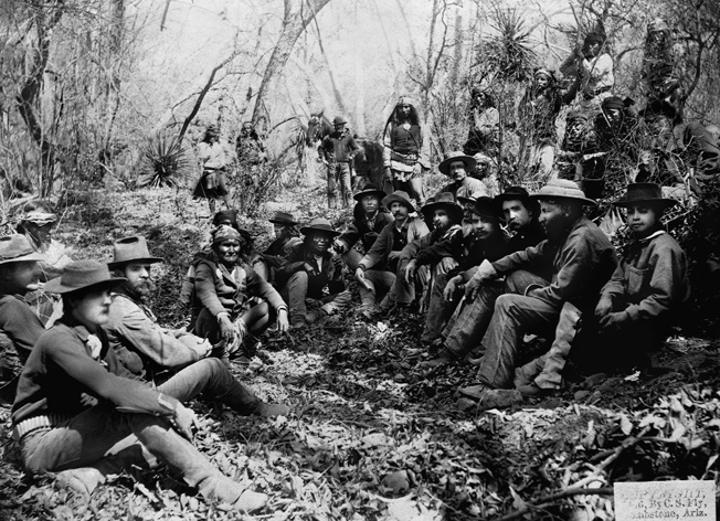 U.S. Army General George Crook and Geronimo meet in Mexico's Sierra Madre Mountains. Having escaped three times from the reservation, Geronimo in 1886 was sent as a prisoner of war to Florida.