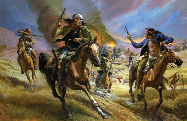 Geronimo and his followers are shown escaping from the San Carlos Reservation in a modern painting by William Ahrendt.