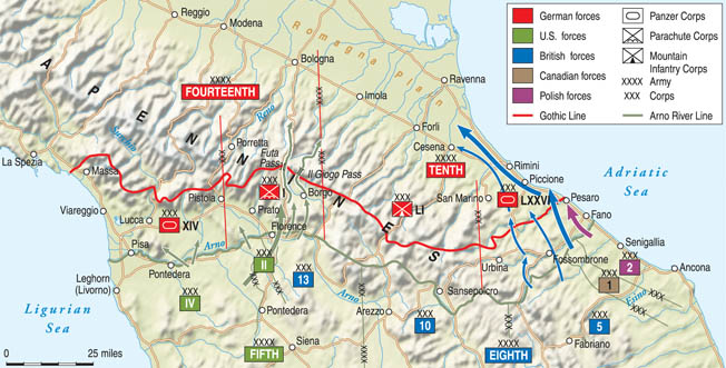 Allied armies, advancing from the south, were prevented from breaking into the Po River Valley by a strong line of German defensive positions in the northern Apennines during the fall and winter of 1944-1945.
