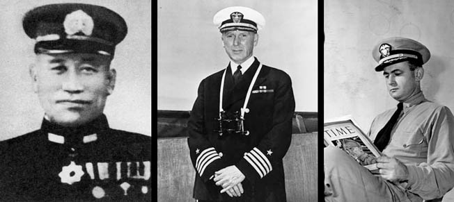 Left to Right: Rear Admiral Aritomo Goto commanded the Japanese flotilla that was pounded by American cruisers and destroyers during the Battle of Cape Esperance off Guadalcanal on October 11, 1942. Admiral Norman Scott commanded U.S. Navy Task Force 64, which defeated the Japanese at Cape Esperance. He was killed in action a month later during the First Naval Battle of Guadalcanal. Lt. Cmdr. Bruce McCandless breathed a sigh of relief when the cruiser Salt Lake City narrowly averted firing on his own ship, the cruiser USS San Francisco.