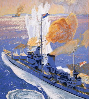 A geyser erupts after a near miss from the 11-inch guns of Graf Spee falls close to the cruiser Achilles.