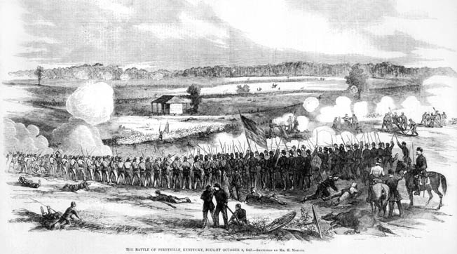 Battle of Perryville, Kentucky, on 8 October 1862. Contemporary engraving.