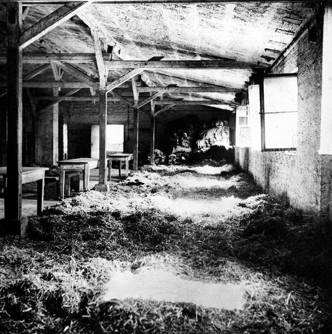 This photo of the sleeping area in Stalag XII-A sheds some light on the extent of the crude quarters that many Allied prisoners of war shared. Miller estimates he lost 60 pounds in the month he was held there.