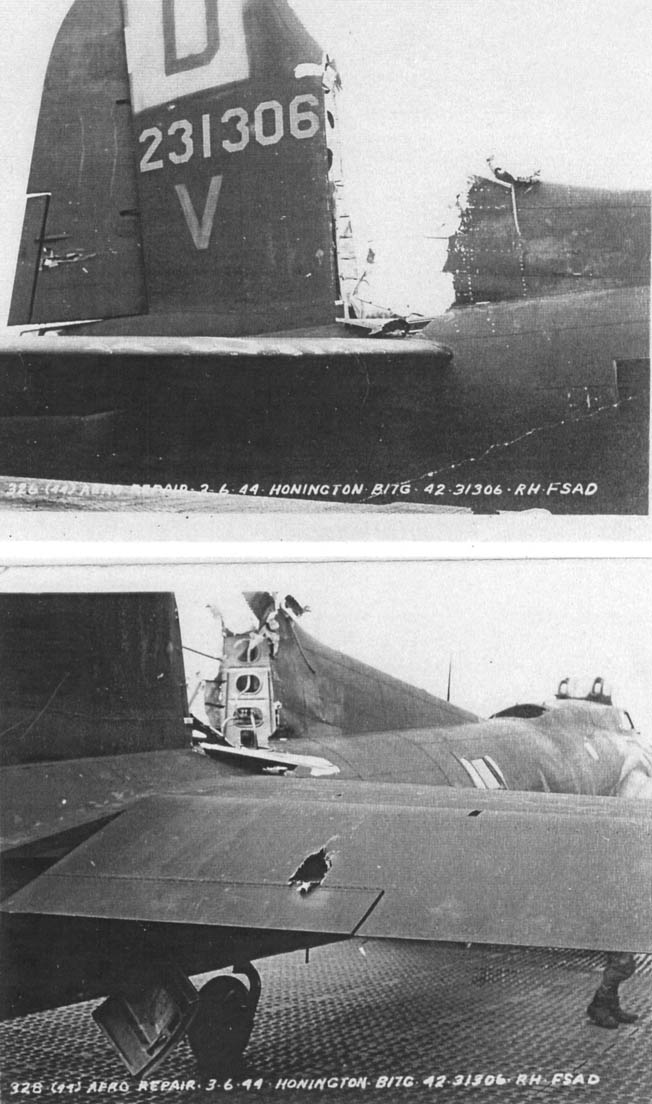 These photos of the Nelson King after its safe return to an airfield in England reveal the extent of the damage to the fuselage and vertical stabilizer of the heavy bomber. The damage occurred when a German Messerschmitt Me-109 fighter collided with the bomber in midair. It also appears that a single 20mm round from a German cannon, or possibly shrapnel from exploding flak, has punched a sizable hole in the plane's rear elevator along the edge of the right horizontal stabilizer.