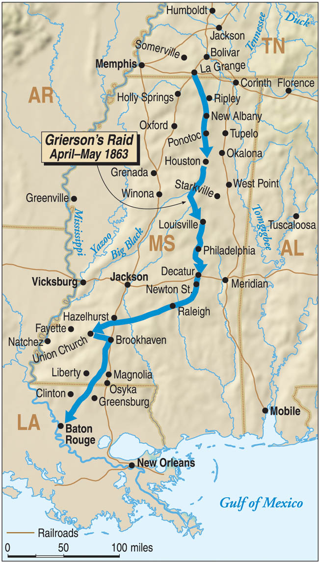 Grierson's raid began at the Union cavalry depot in La Grange, Tennessee, on April 17. The primary target was the crossroads depot at Newtown Station, where rail lines transected in all four directions.