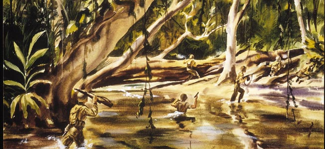 Combat artist Dwight Shepler depicts  a patrol crossing through one of the  numerous pestilential streams on Guadalcanal in Action on the River.
