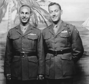 Art Pendleton (left), photographed in Australia prior to the Guadalcanal operation.