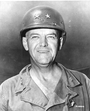 Major General Andrew Bruce commanded the 77th Infantry Division of the U.S. Army during the liberation of Guam.