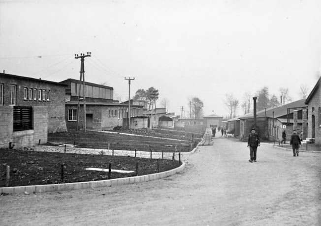 A neat and tidy street between factory buildings at Gustloff-Werk II where conditions were generally better for inmates working there. All were destroyed during the U.S. Army Air Force's bombing raid.