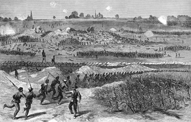 Mounds of earth smolder in the middle distance as Union soldiers march into battle in this sketch made three hours after the explosion. On the left is Brig. Gen. Frank Bartlett's Massachusetts brigade; on the right are USCT troops. The inner line of Confederate works is visible on the high ground 500 yards in the distance.