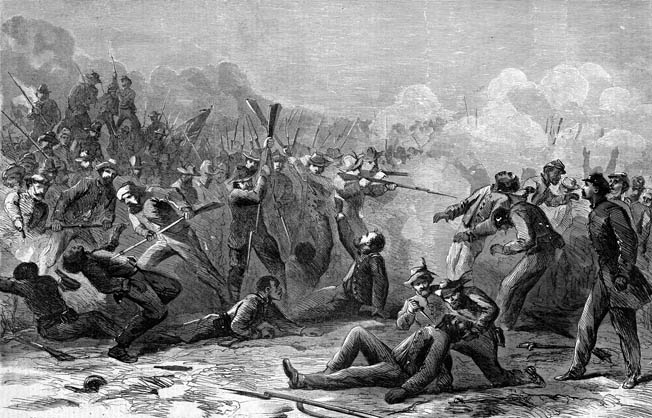 This sensationalized image of Confederates massacring African American soldiers at Fort Pillow was published in the April 30, 1864, issue of Harper's Weekly. Only 58 black soldiers, less than one in four, survived the battle.