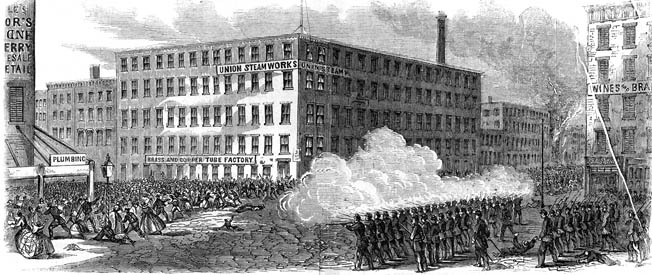 Some of the worst violence took place on the second day at the Union Steam Works at 22nd Street and Second Avenue. A mob, which included many brick-throwing women, unsuccessfully attempted to seize thousands of carbines stored in the building.